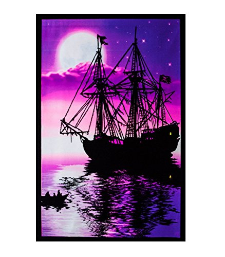 Opticz Moonlit Pirate Ghost Ship Blacklight Poster Art Print 23 x 35in