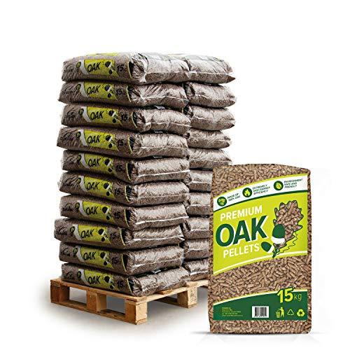 Holzpellets Oak Heizpellets Hartholz Eiche Wood Pellet Öko Energie Heizung Kessel Sackware 8mm 15kg x 20 Sack 300kg / 1 Palette Zunami