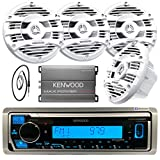 Kenwood Single DIN Marine Digital Media Bluetooth Receiver, 4x Kenwood 6.5' 2 Way White Marine Speakers, Kenwood 4-Channel Amplifier, Antenna - 40 '