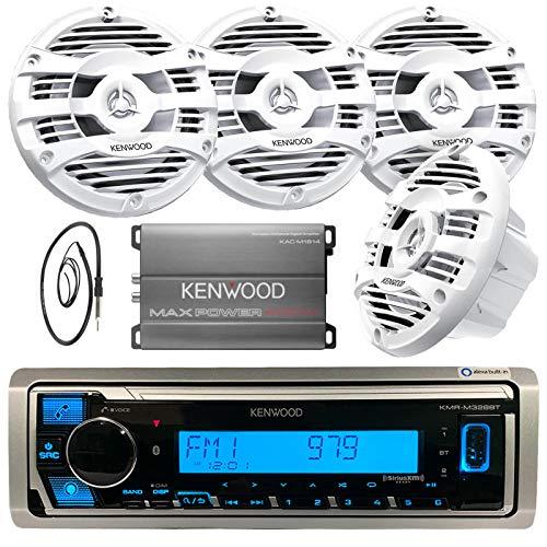 "Kenwood Single DIN Marine Digital Media Bluetooth Receiver, 4X Kenwood 6.5"" 2 Way White Marine Speakers, Kenwood 4-Channel Amplifier, Antenna - 40"""