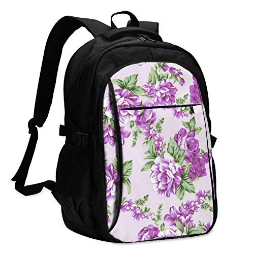 XCNGG Purple Flowers Travel Laptop Backpack with USB Charging Port Multifunction Work School Bag