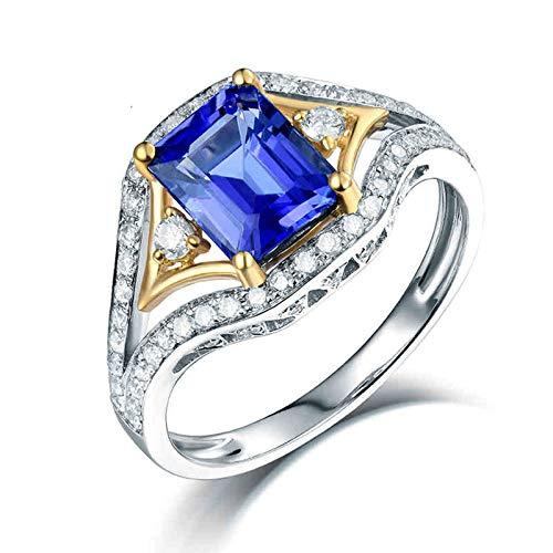 AnazoZ Anillo con Tanzanita Mujer,Anillo de Compromiso Oro Blanco 14K Mujer Plata Oro Azul Rectángulo Tanzanita Azul 1.465ct Diamante 0.39ct Talla 25