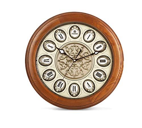Importation Cendres Réel Horloge Murale En Bois Horloge Européenne Salon Horloge Calme Mode Créatif Ronde
