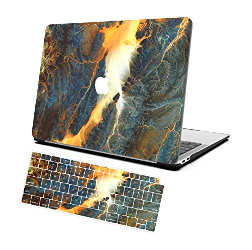 AOGGY MacBook Pro 15 Inch Case 2019 2018 2017 2016 Version A1707/A1989,Color Plastic Hard Shell Protector Case, with Keyboard Cover,for Mac Pro 15.4 Inch with Touch Bar and Touch ID - Colored Marble
