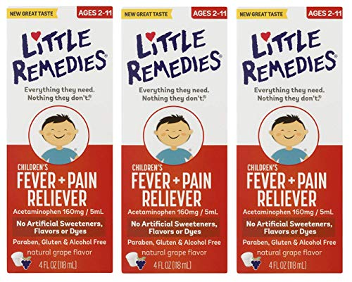 Little Remedies Children's Fever & Pain Reliever | Natural Grape Flavor | 4 FL OZ | 3 Pack