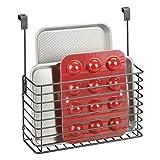 mDesign Repisa colgante – Práctico estante para cocina – Balda metálica para colgar en la puerta del armario y guardar tablas de cortar y libros de cocina – gris