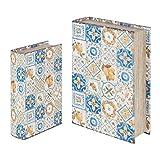 Set de 2 Cajas Libro Decorativas de Madera 'Hidráulico Limones'. Joyeros. Cajas Multiusos. Regalos Originales. Animales. Decoración Hogar. 27 x 18 x 7 cm