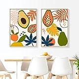 DFGRHG Póster Moderno Abstracto de Frutas Tropicales y Lienzo Impreso, Pintura de Pared, Cuadros para Cocina, Comedor, decoración del hogar-40x60cmx2 (sin Marco)