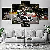 IILSZMT HD Cuadro En Lienzo 5 Partes Mpresiones sobre Lienzo Coche Lewis Hamilton F1 del GP De Mónaco Modernos Pared Decorativo