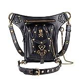 Segater Gothic Steampunk - Bolsa de cintura para el hombro y la cintura, bolsa de hombro y riñonera para exteriores, color negro
