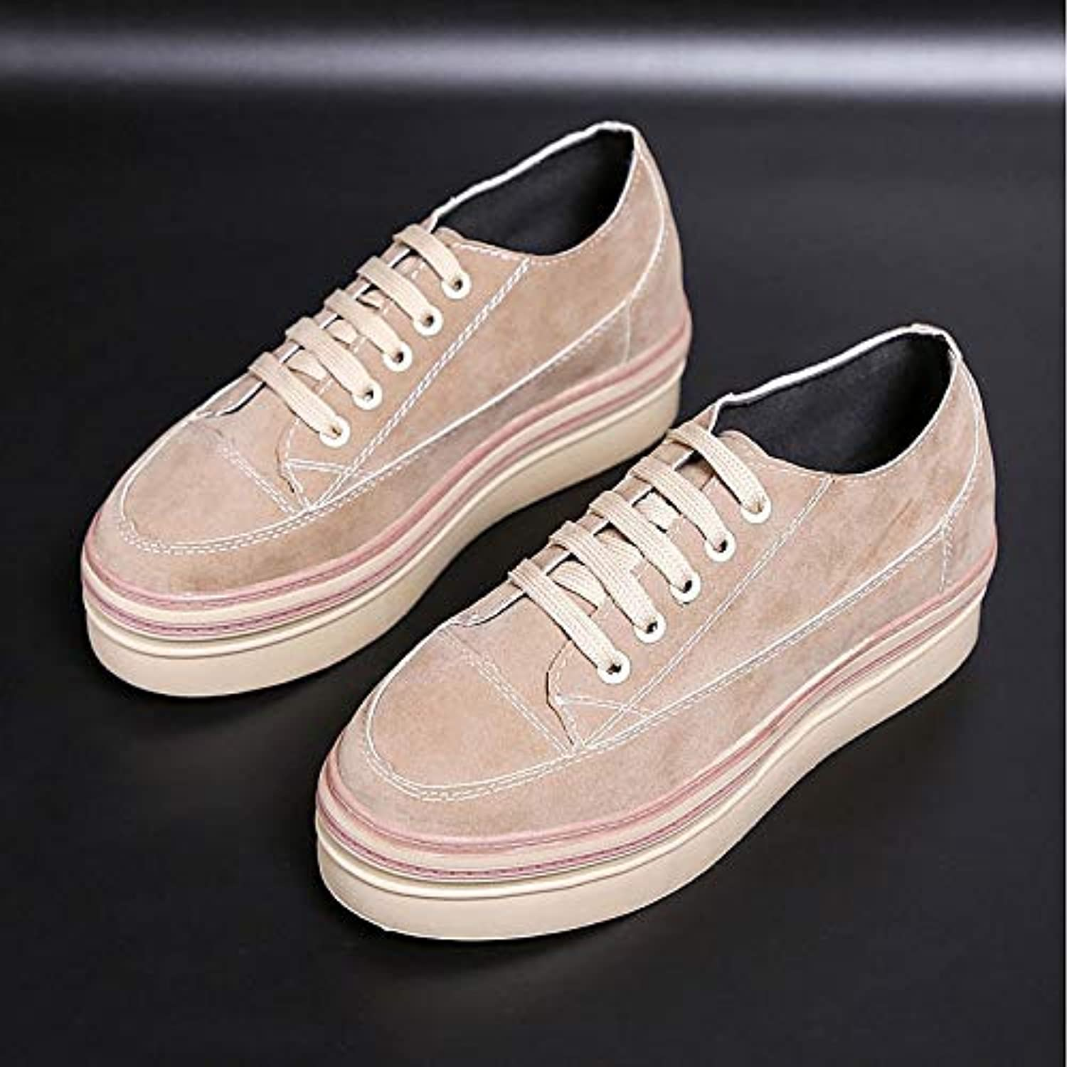 Women's Comfort shoes PU(Polyurethane) Fall Sneakers Creepers Round Toe Black Almond
