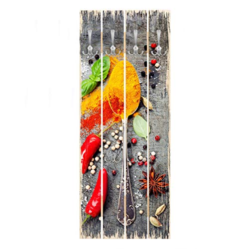 Bilderwelten Perchero de Madera Spoons with Spices, 100x40 cm Panel Incl. Ganchos Cromado