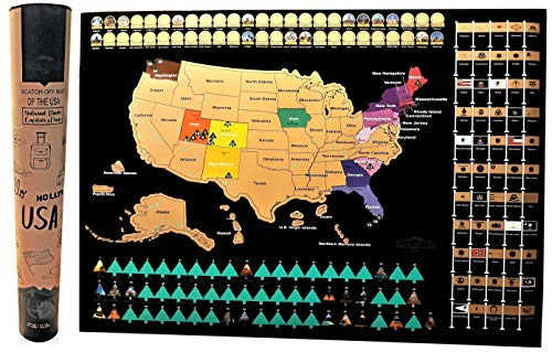 """Scratch Off Map of The United States National Parks (24"""" x 17"""") - Reveals Images USA Travel Scratch-Off Poster with Capitals, State Flags, & US Territories - Black with Gold/Green Foil Travelers Gift"""