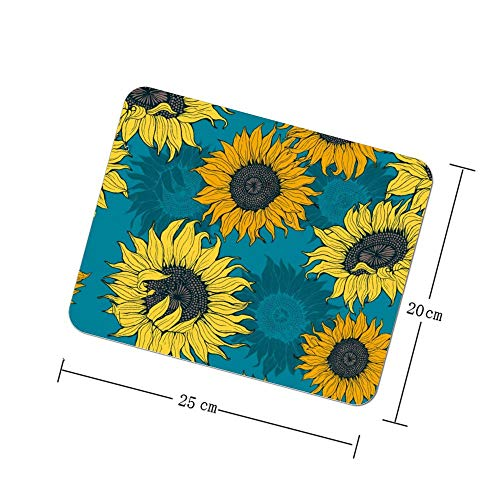 Mouse Pads Non-Slip for Gaming Table Sunflowers on Blue Computers Laptop Men Desk Accessories Decor Smooth Square Pad…