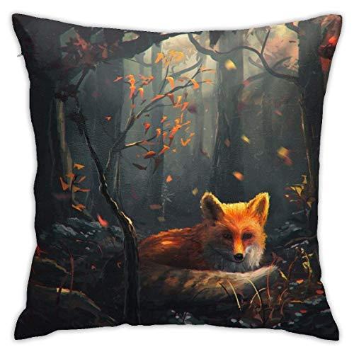 Throw Pillow Covers, Dark Forest Fox Cushion Funda Cuadrada Fundas de Almohada Sofá Decoración para el hogar