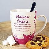 Mug Maman Chérie avec Poème (MA4001) + Emballage cadeau original et coloré avec une poigné : Cadeau prêt à offrir