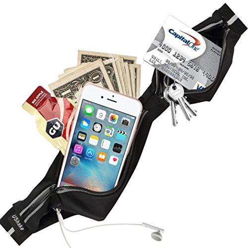 Stretchy Slim Running Belt, Ultra Light Bounce Free Waist Pouch Fitness Workout Belt Sport Waist Pack Exercise Waist Bag for Apple iPhone 8 X 7 SE 6 6+ 5s Samsung Note Galaxy 8 in Running Gym-03
