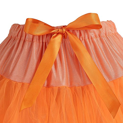 Caissen Damen Elastisch Puffy Tüll Tütü Röcke Petticoat Ballett Blase Ballkleid Bowknot Mehrfarbengroß Tanzrock Weiß - 6