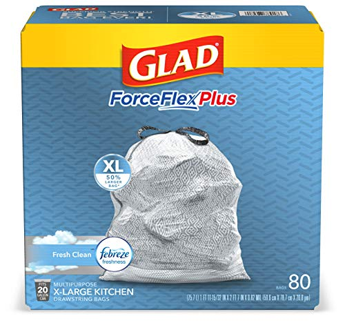 Glad ForceFlexPlus XL Grey Kitchen Drawstring Trash Bags, Febreze, 20 Gal, 80 Ct (Package May Vary)