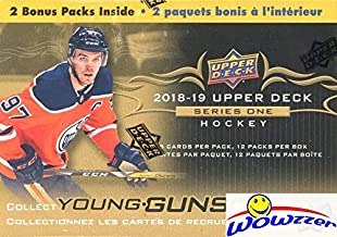 2018/19 Upper Deck Series 1 NHL Hockey EXCLUSIVE HUGE Factory Sealed Blaster Box with 12 Packs including TWO(2) YOUNG GUN ROOKIE Cards! Look for Elias Pettersson, Rasmus Dahlin & Many More! WOWZZER!