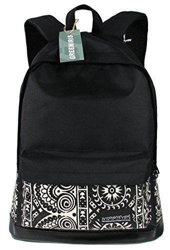 Greeniris Zaino da viaggio casuale delle donne zaino Zipper sacchetto di scuola per Lady Nero bianco