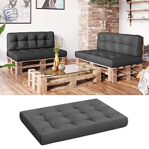 Vicco Palettenkissen Set Sitzkissen Rückenkissen Flockenfüllung Palettenmöbel (Sitzkissen 120x80, Anthrazit)