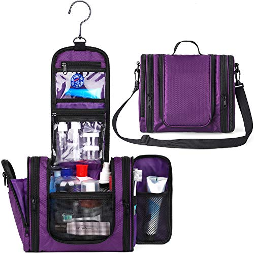 WANDF Expandable Toiletry Bag Hanging Dopp Kit TSA Approved Bottles Water-Resistant Bathroom Bag for Men Women Water-resistant Nylon, Purple