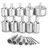 Diamond Hole Saws,18Pcs Diamond Drill Bits Hollow Core Drill Bits Set Extractor Remover Tools for Glass,Ceramics,Porcelain,Ceramic Tile 4-50mm,1/6-2inch