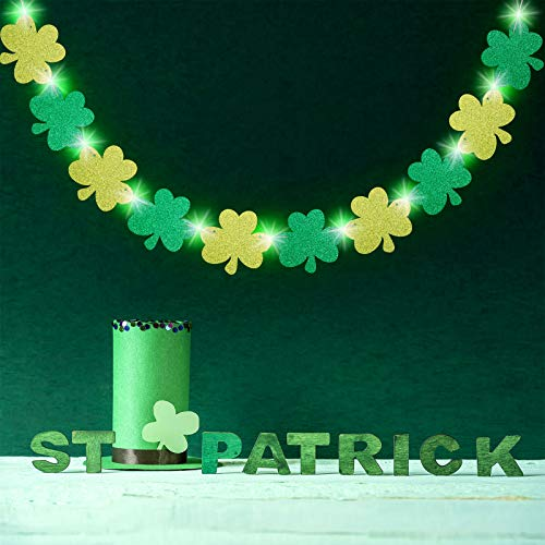 St. Patrick's Day DecorationsGlitter Shamrock Garland Banner with 8 Modes Green String Lights Four Leaf Clover Garland for Irish Saint Patrick's Day Party