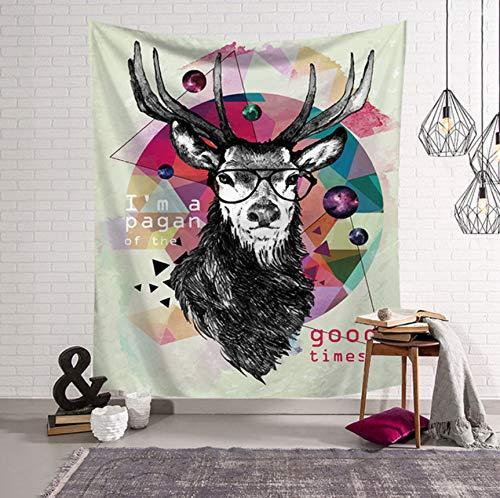 BOBSUY Leuke Eenvoudige Dromerige Humanoïde Stijl Antelope Tapestry Hippie Mandala Beach Yoga Meditatie Mat Deken Mandala Tarpaulin Picknick Mat afdrukken Strand Gypsy Sjaal