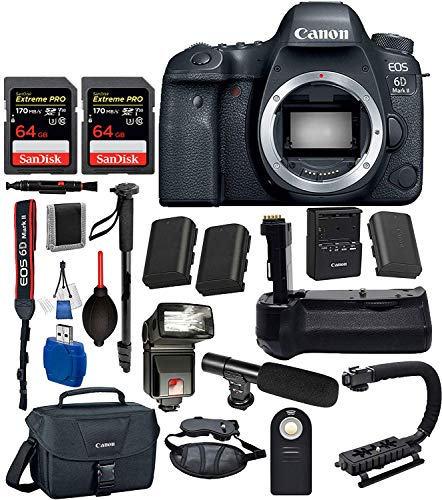 Canon EOS 6D Mark II Digital SLR Full Frame Camera Body Only USA 1897C002 (Black) 18PC Professional Bundle Package Deal -Professional Battery Grip + SanDisk Extreme pro 64gb SD Card + More