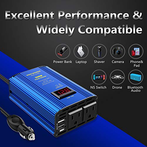 Power Inverter 300W Car Inverter DC 12V to 110V AC Converter with LED Display & 4.8A Dual USB Car Adapter Charger by VOLTWORKS