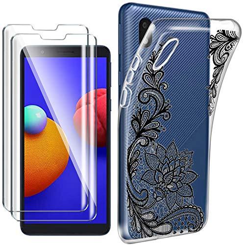 HYMY Cover per Samsung Galaxy A01 Core (5.3') + 2X Pellicola Protettiva - Morbida Trasparente Silicone Bumper Case TPU Protettivo Copertura Custodia 9H Vetro temperato, Black Lace Flower