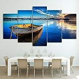 DBFHC Art Cuadros En Lienzo Viejo Barco De Pesca En El Río Marina Decoracion De Pared 5 Piezas Modernos Mural Fotos para Salon Dormitori Baño Comedor 150X100Cm