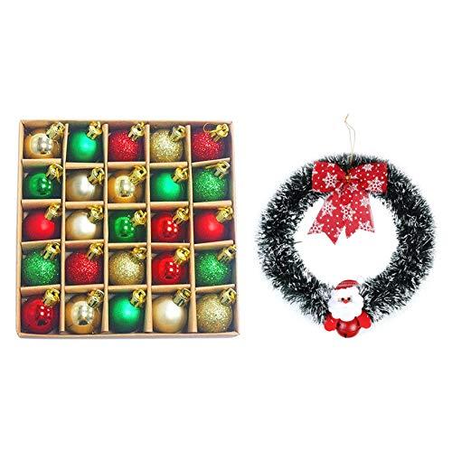Cuasting 1 caja de 30 mm para decoración de árbol de Navidad y 1 corona de puerta de Papá Noel