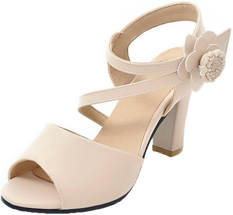 WeenFashion Women's Buckle Open-Toe High Heels Pu Solid Sandals