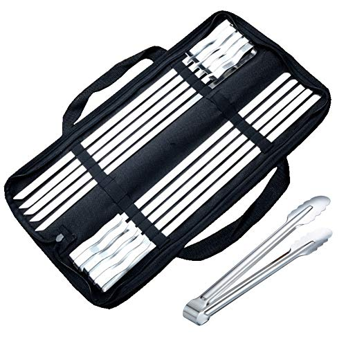 Stainless Steel Barbecue Skewers Set, 16' BBQ Barbecue Flat Metal Skewers for Grilling, 10pcs Durable Long Kabob Skewers with Handbag + Stainless Steel Kitchen Tongs (Skewers with 14' kitchen tongs)