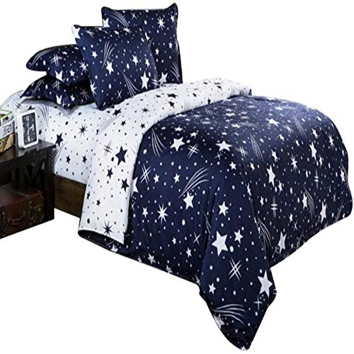 BH-JJSMGS Printed duvet cover and pillowcase, outer space duvet cover, planet printed bedding rocket and astronaut children's bedding set, soft bedding, starry sky 1Double200*200cm