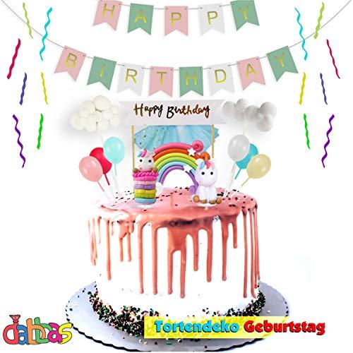 Taartdecoratie Eenhoorn verjaardag taart - verjaardagstaart voor kinderen - bevat regenboog, eenhoorn, ballonnen, wolken, maan, en sterren, Happy Birthday slinger banner ultraheldere grappige kleuren