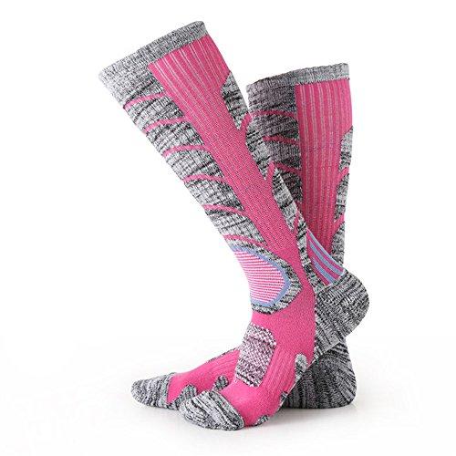 Ski boot socks, POAO Climbing Outdoor Winter Sports Snowboard Mens Cotton Rich (L 14-18) (red)