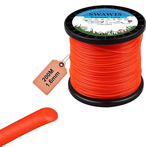 SWAWIS Fil de Coupe Nylon Rond 1,6mm/200m Bobine de Tondeuse Trimmer Line de Rechange pour Jardin de Mauvaises Herbes Fil pour débroussailleuse, Orange