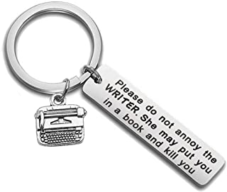 HOLLP Journalist Gift Writer Keychain Book Lover Gift Literary Keychain Please Do Not Annoy The Writer Jewelry