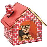 Felenny Chimenea Casa de Ladrillos en Forma de Perrera para Mascotas Casa de Campaña para Gatos con Almohadilla Inferior Extraíble para Gatos Perros Pequeños