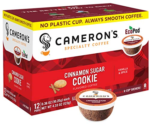 Cameron's Coffee Single Serve Pods, Flavored, Cinnamon Sugar Cookie, 12 Count (Pack of 6)