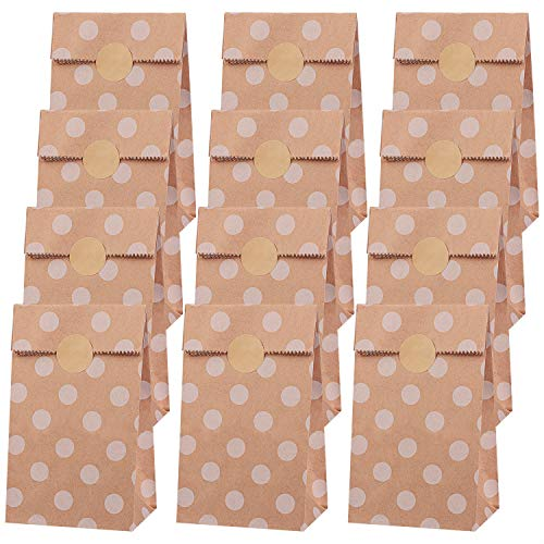 Elcoho 48 Pieces Mini Brown Paper Bags with 48 Pieces Stickers Polka Dot Kraft Paper Bags Durable Eco-friendly Lunch Bread Candy Bags for Daily Use Wedding Birthday Party Supplies, 3.5 x 2.4 x 7.1 Inches