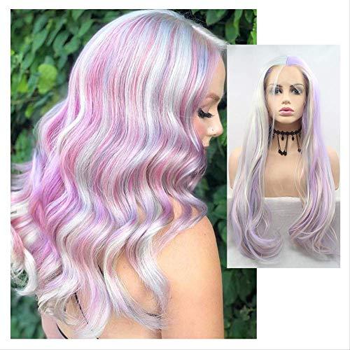 Perruques pour femme avec dentelle frontale multicolore en fibre chimique longue et bouclée