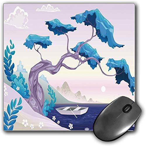 Mauspad-Spielfunktion Küsten Dekor Dicke wasserdichte Desktop-Mausmatte Fantastische Landschafts-Bonsai-Baum-Meerwasser-Lilien-Gänseblümchen und Boot,Blaue hellblaue Fliederrutschfeste Gummibasis
