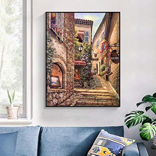 wZUN Pintura en Lienzo de Paisaje de la Ciudad de Venecia clásica, Carteles e Impresiones de paisajes imprimibles en HD, imágenes de decoración del hogar 60X90 Sin Marco