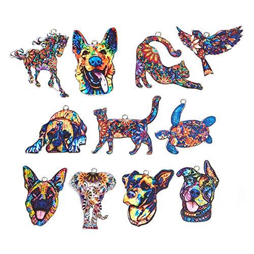 BKPP 11 llaveros con diseño de animales de moda, personalidad, patrón de colores, colgante de animales, para collar, pulsera, fabricación de joyas (aleación)