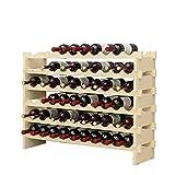DlandHome 6 Etagères pour 60 Bouteilles Etagère à Vin Casier à Bouteille Modulable Range-Bouteilles en Bois 100 x 30 x 81 cm